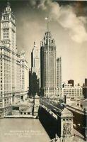 Chicago Illinois Michigan Avenue Bridge Wrigley 1940s Postcard Grogan RPPC 11123