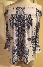 INC International Concepts motivo a fiori top camicetta spalle scoperte Blu