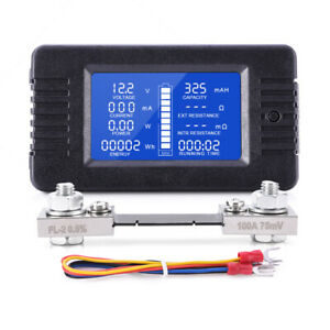 LCD Display DC Battery Monitor Meter 0-200V Volt Amp fit Cars RV Solar System
