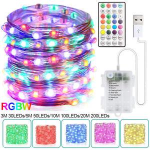 LED Lichterkette Drahtlichterkette Kupferdraht Batterie RGBW mit Fernbedienung
