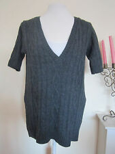 Ladies Cable Knitted Jumper Top Size 12 Dark Grey Winter Warm Sweater Blouse VTG