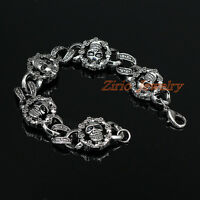 Men's Gothic Stainless Steel Skull Head Link Bracelet Rock Biker Bangle Punk