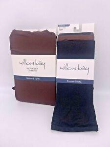 1 pr LARGE Willow Bay Tights-Brown-3 pr QUEEN Willow Bay Trouser Socks-Blk/Brn