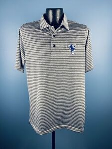 Men's Antigua NFL Indianapolis Colts Gray Striped Short Sleeve Athletic Polo M