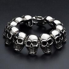 Men's Stainless Steel Bracelet Biker Skull Chain Bangle Punk Silver Link