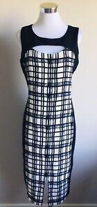Target Collection Size 12 Dress Black White Print Midi Length