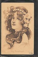 USA. My sweetheart Year 1909 .Vintage Postcard