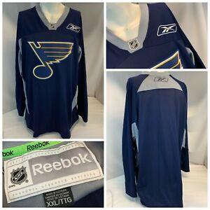 St. Louis Blues Reebok Practice Jersey XXL Blue Authentic Stitch Logo YGI E1-155