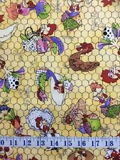 Chicken Chique Coopers Yellow by Loralie Cotton Quilting Fabric 1/2 YARD