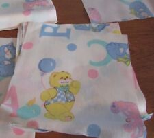 "lot of 20 quilt squares pink/blue bunnies/ bears flowers 6x6""  cotton  fabric"