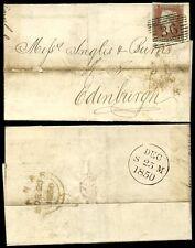 PENNY RED IMPERF 1850 CHRISTMAS DAY POSTMARK...BANFF to EDINBURGH