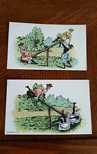 2 Vintage Postcards Ladies on a Teeter Totter