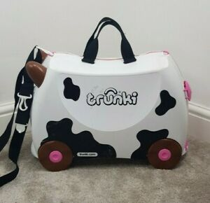 TRUNKI Ride-on Suitcase Freida the Cow Kids Luggage 18 Litre Black White Animal