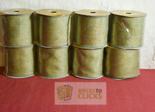 "Vickerman 4""x30' (10 Yards) Ribbon Burlap Sage Gold Lot of 8 (240 Feet Total)"