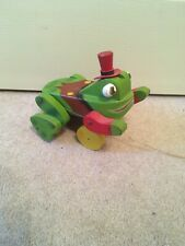 Wooden Frog Pull Toy Green Red Hat.