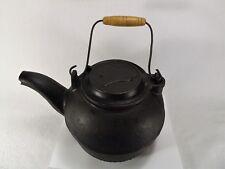 RARE Antique Cast Iron Tea Kettle Bell Design on Lid American Wooden HandleHEAVY