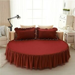 Round Bed Skirt Set 3pcs Sheet Bed Cover Set Ruffles Lace Bed Set Pillowcases