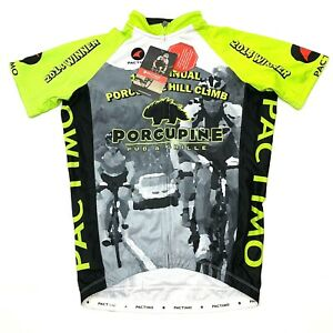 Pactimo Mens Full Zip Cycling Jersey Neon Yellow Gray Size Small. A9