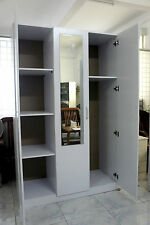 Redfern 1.2M wide 3 Door Combo Wardrobe/Cupboard with Mirror White