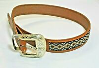 Western Beaded Belt Silver Tone Sz 32 Tooled Leather Vintage 1995 glass beads
