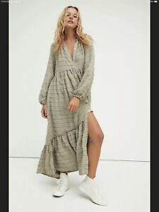 NEW FREE PEOPLE EDIE PLAID BUTTON MAXI DRESS DUSTER MAXI TOP SIZE L