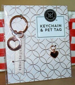 Pawsitive Vibes Love Pet Cat Dog Rose Gold Heart Keychain Tag Collar Charm Set
