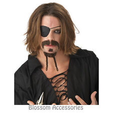 A39 Rogue Pirate Dark Brown Moustache Goatee Patch Fancy Costume Accessories