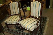 PAIR Matching Victorian Walnut Parlor Chairs with Hip Rest, Front Brass Castors