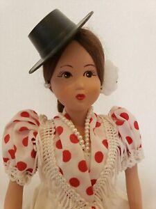 Vintage Marin Chiclana Porcelain Sitting Doll Original Box & Tag Polka Dot Dress