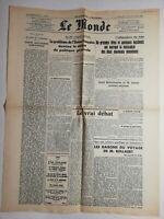 N752 La Une Du Journal Le Monde 17 18 août 1947 union douanière européenne