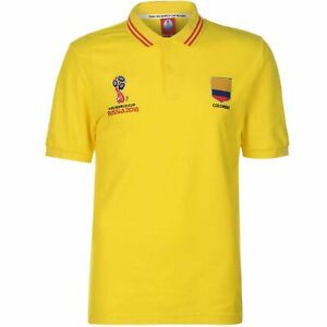 FIFA World Cup 2018 Colombia Polo Shirt Mens Yellow Football Soccer Top T-Shirt