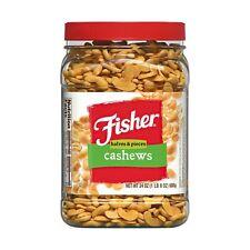 Fisher Snack Cashew Halves &Piece, Grocery Gourmet Food Healthy fresh  24 Oz