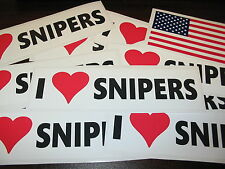10 - I LOVE SNIPERS Car Window Decal Bumper StickerS + FREE USA American Flag