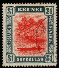More details for brunei sg33 1907 $1 red & grey fine used