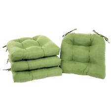 Chair Cushion Seat Set of 4 Outdoor Patio Furniture Pad Ties Garden Dining Green