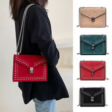 Women Ladies Scrub Leather Shoulder Bag Bags Chain Rivet Lock Crossbody