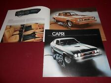 "1977 MERCURY CAPRI, 12 p. SHOWROOM BROCHURE, SALES CATALOG ""S"" RALLY CAT GHIA"