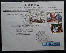 RARE 1959 Madagascar Ameca Cover ties 3 stamps cancelled Tananarive