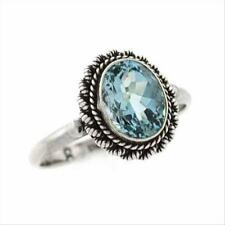 925 Silver Oval Blue Topaz Vintage Solitaire Ring Size 6