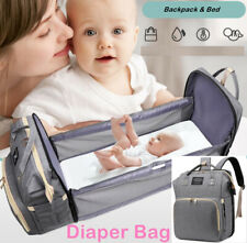 Upgraded Diaper Bag Backpack USB 3 in 1 Travel Bassinet Foldable Bed for Baby