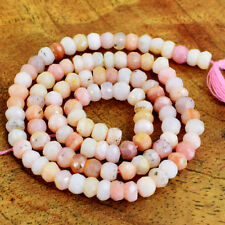 45.00 Cts / 13 Inches Natural Drilled Pink Australian Opal Faceted Beads Strand