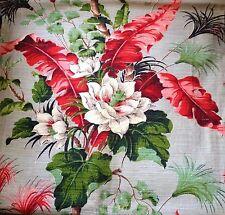 "Vtg Barkcloth 4 Panels 75""x42"" Drape Curtain Fabric Tropical Floral, Never Used?"