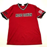 VINTAGE Road Dogs Softball Baseball Jersey Size Large 42 - 44 Red V-Neck 90s Tee