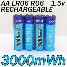 2 PILES ACCUS RECHARGEABLE AA 3000Mwh LITHIUM Li-ion 1.5V KENTLI R6 R06 LR06 LR6