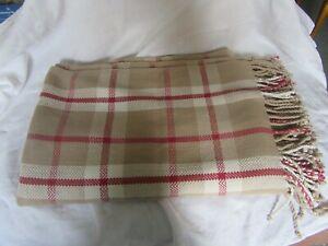 "Laura Ashley 100% Cotton Throw Blanket Red/cream/beige check plaid 54""x74"" Lot 2"