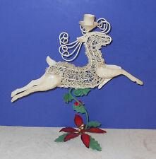 """VTG Prancing Reindeer white metal Christmas decoration figure 12"""" CANDLE HOLDER"""
