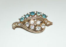 Vintage Gold Tone Metal Clear and Blue Crystal Pin Brooch