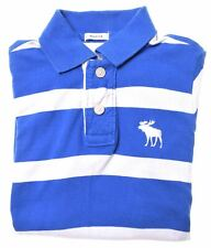 ABERCROMBIE & FITCH Boys Polo Shirt 10-11 Years Medium Blue Striped Cotton  IQ04