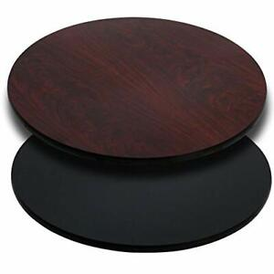 Flash Furniture 36'' Round Table Top with Black or Mahogany Reversible Lamina...