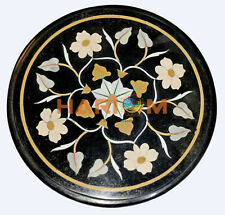 "12"" Round Black Marble Coffee Table Top White Floral Inlay Decor Furniture B522"